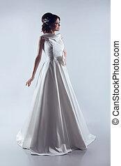 piękny, panna młoda, w, elegancki, ślub, dress., fason, lady., fotografia studia