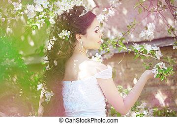 piękny, panna młoda, w, niejaki, kwitnąc, ogród