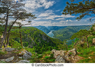 piękny, panorama, krajobraz, serbian