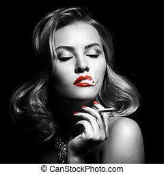 piękny, papieros, kobieta, retro, portret
