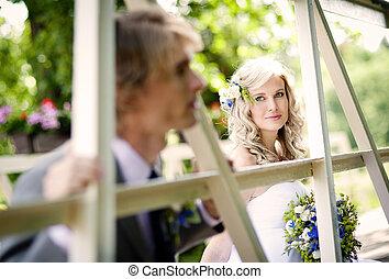 piękny, para, ślub