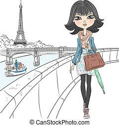 piękny, paryż, dziewczyna, fason, wektor