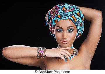 piękny, patrząc, kobieta, biżuteria, beauty., przeciw, ...