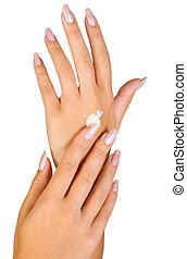 piękny, paznokcie, kobieta, palce