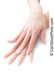 piękny, paznokcie, w, krzyżowane ręki