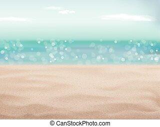 piękny, piasek plaża, scena, tło