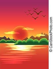 piękny, pierwszy plan, niebo, woda, zachód słońca, tło, czerwony