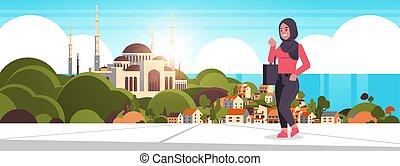 piękny, pieszy, na wolnym powietrzu, meczet, na, samica, ...