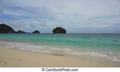 piękny, plaża, island., tropikalny