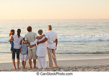 piękny, plaża, rodzina