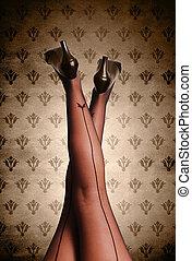 piękny, pończochy, kobieta, nogi