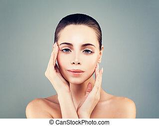 piękny, pojęcie, jej, piękno, twarz, kosmetyka, skincare, dotykanie, kobieta, portrait., traktowanie, twarzowy, zdrój, dziewczyna
