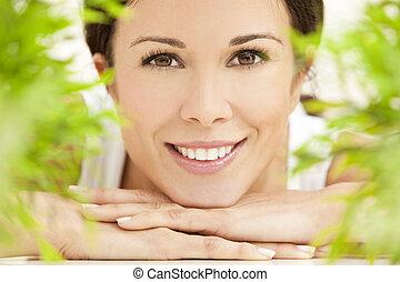 piękny, pojęcie, kasownik, kobieta, zdrowie, uśmiechanie się