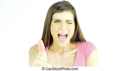 piękny, pojęcie, kciuk do góry, młoda kobieta, uśmiechanie się, szczęście