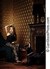 piękny, pokój, jej, klasyk, pies, luksusowy, wewnętrzny, dama