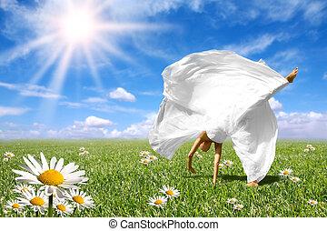 piękny, pole, łąka, wiosna