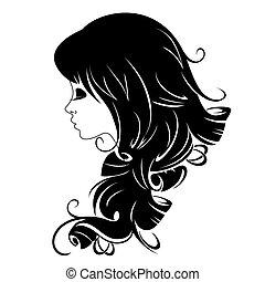 piękny, portret, abstrakcyjny, dziewczyna