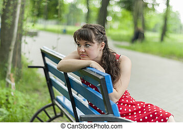 piękny, portret, dziewczyna, park, bench.