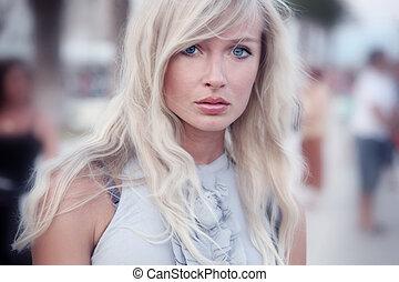 piękny, portret, kobieta, closeup, młody