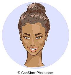 piękny, portret, kobieta, czarnoskóry
