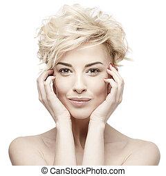 piękny, portret, kobieta, czysty, skóra