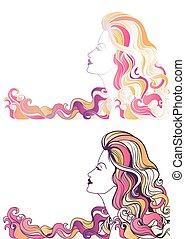 piękny, portret, kobieta, młody, barwny