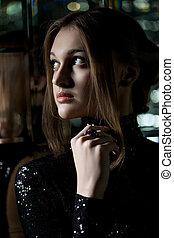piękny, portret, kobieta, młody, nightclub