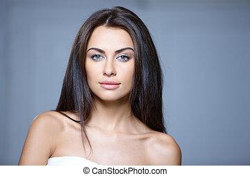 piękny, portret, kobieta, młody
