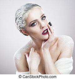 piękny, portret, kobieta, makijaż, twórczy