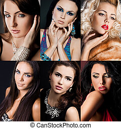 piękny, portret, kobieta, modny