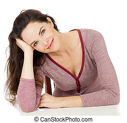 piękny, portret, kobieta posiedzenie