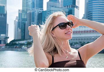 piękny, portret, kobieta, singapore