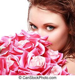 piękny, portret, kobieta, wspaniały, młody