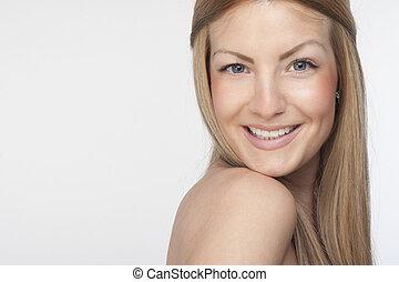 piękny, portret, samica