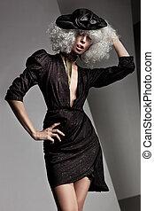 piękny, portret, styl, fason, kobieta