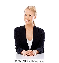 piękny, posiedzenie, kobieta uśmiechnięta, handlowy, biurko