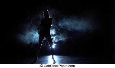 piękny, powoli taniec, lights., ruch, sposób, dym, dziewczyna