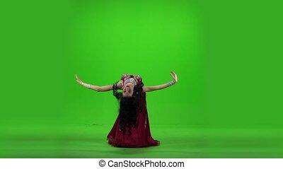 piękny, powoli taniec, screen., ruch, zielony, brzuch