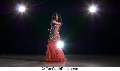 piękny, powoli taniec, tancerz, szczupły, nazad lekki, ruch, kobieta, brzuch, czarnoskóry