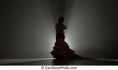 piękny, powolny, sylwetka, taniec, lekki, motion., tło., behind., dym, dziewczyna, strój