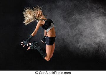 piękny, praktyka, skok, tancerz, studio, ruch