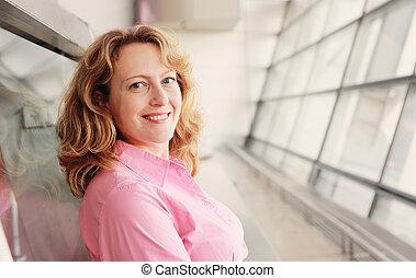 piękny, prawdziwy, kobieta, stary, 35, lata, portret