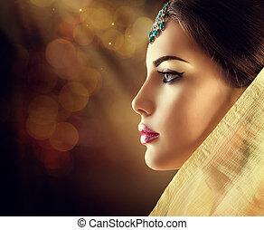 piękny, profil, kobieta, indianin, przybory, fason, orientalny, portret
