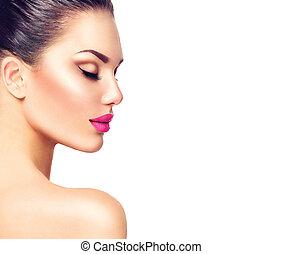piękny, profil, kobieta, odizolowany, brunetka, portret, biały