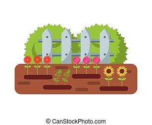 piękny, projektować, ogród