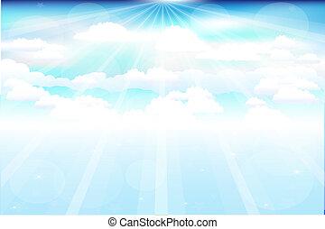 piękny, promienie, chmury