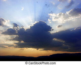piękny, promienie słońca, niebo, f