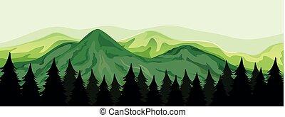piękny, prospekt góry