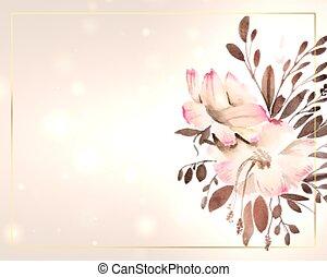 piękny, przestrzeń, akwarela, tekst, kwiat, ozdoba