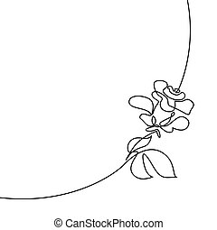 piękny, róża, ciągły, logo, kreskówka